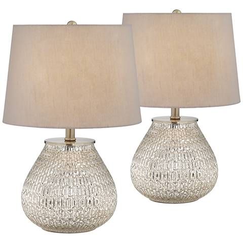 "Zax 19 1/2"" High Mercury Glass Accent Table Lamp Set of 2"