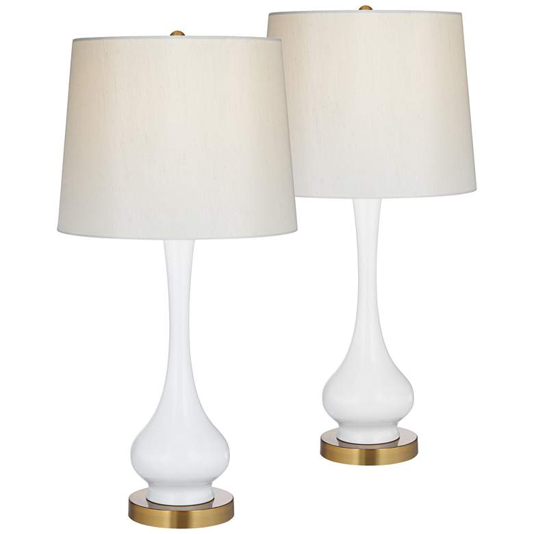 Lula White and Brass Gourd Table Lamp Set of 2
