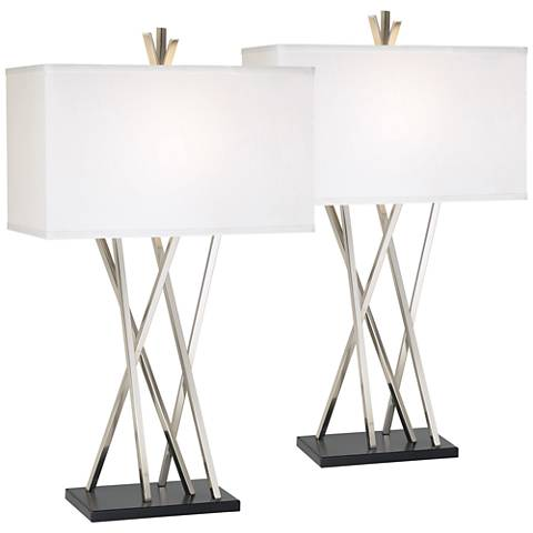 Possini Euro Asymmetry Brushed Steel Table Lamp Set of 2
