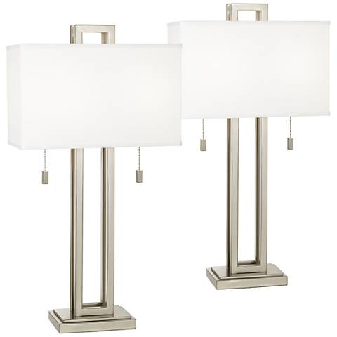 Gossard Brushed Nickel Rectangle Metal Table Lamp Set of 2