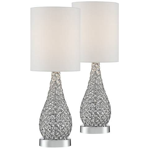 Leola Crystal Bead Gourd Accent Table Lamp Set of 2