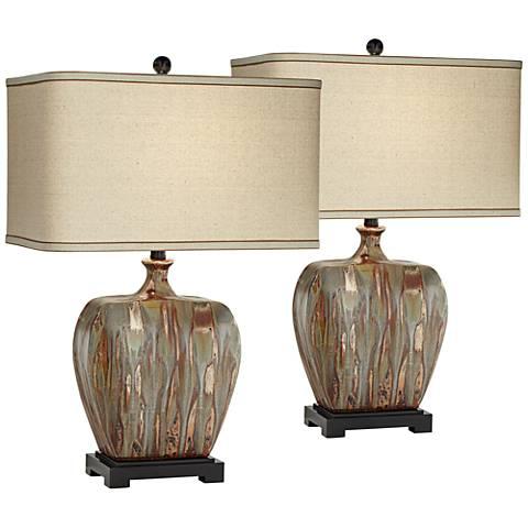 Julius Copper Drip Ceramic Table Lamp Set of 2