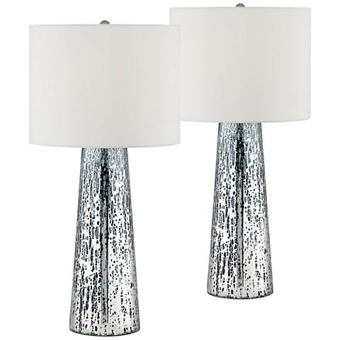 Marcus Mercury Glass Tapered Column Table Lamp Set of 2