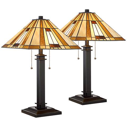 Giselle Bronze and Tiffany Glass Accent Table Lamp Set of 2