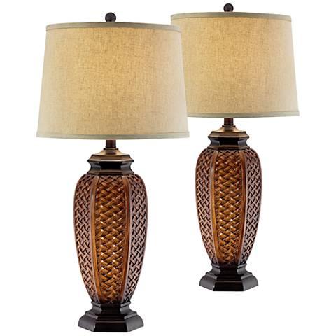 Faux Wicker Jar Table Lamp Set of 2