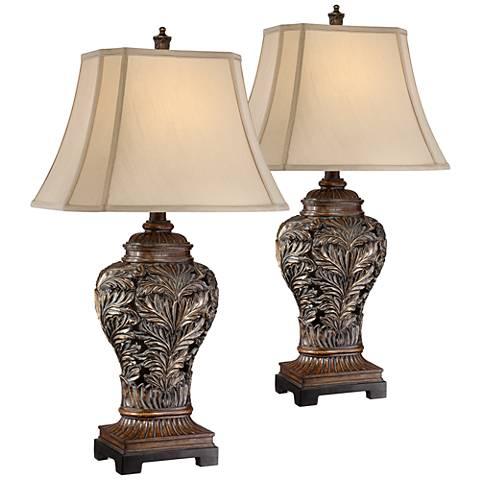 Bronze Openwork Vase Table Lamp Set of 2