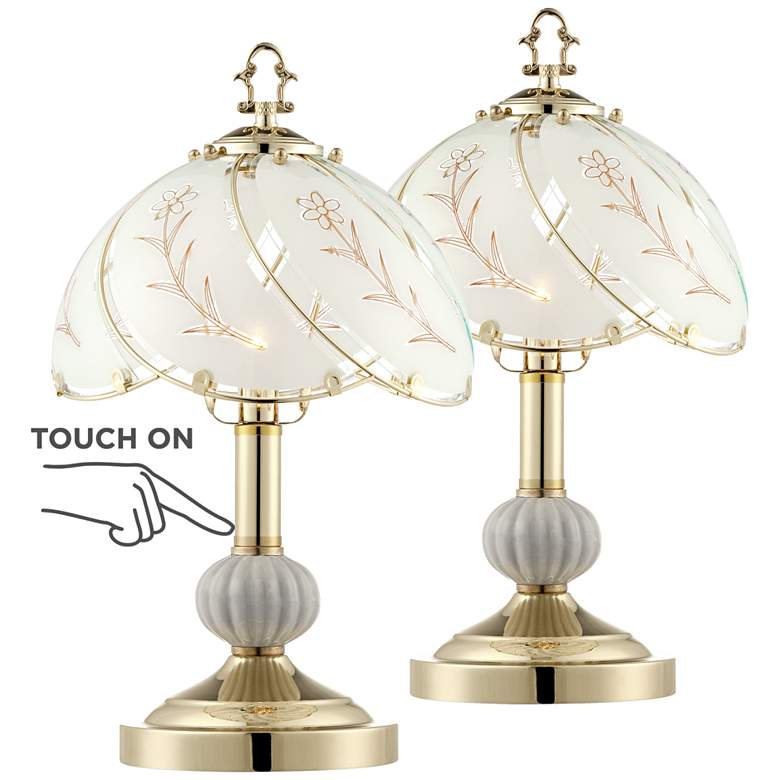 """Polished Brass 15""""H Touch On-Off Accent Table Lamp Set of 2"""