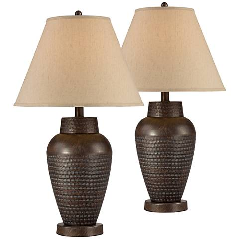 Auburn Hammered Bronze Metal Table Lamp Set of 2