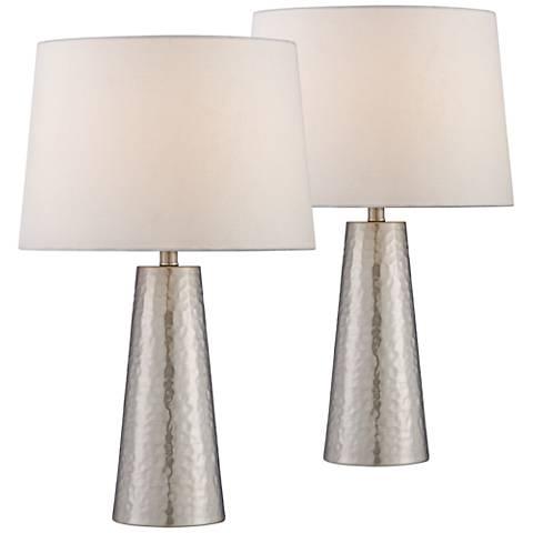 Silver Leaf Hammered Metal Cylinder Table Lamp Set of 2