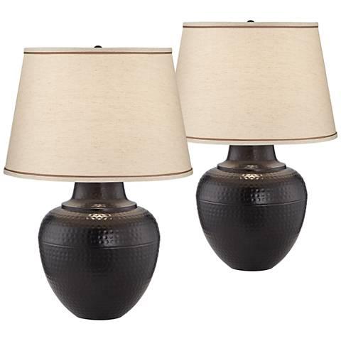 Brighton Hammered Pot Bronze Table Lamp Set of 2