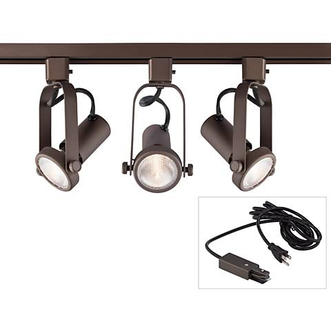 Open Back Bronze 3-Light Plug-In Linear Track Kit
