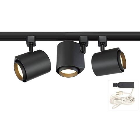 Black 22 Watt LED 3-Light Plug-In 4-Foot Linear Track Kit
