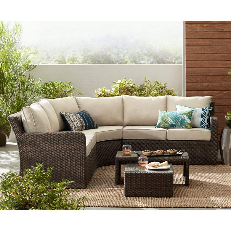 Point View Wicker 5-Piece Outdoor Patio Set with Firepit