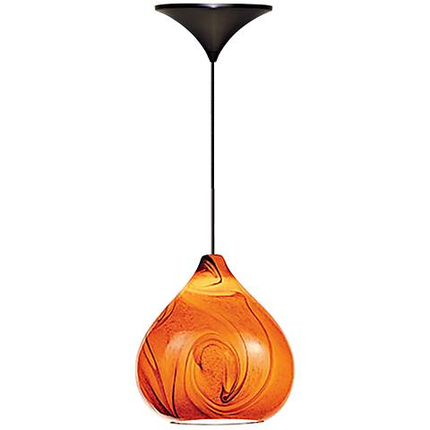 "Truffle 6 1/4""W Amber Glass Quick Connect LED Mini Pendant"