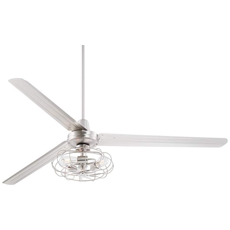 """72"""" Brushed Nickel LED Ceiling Fan W/ Vintage Cage Light Kit"""
