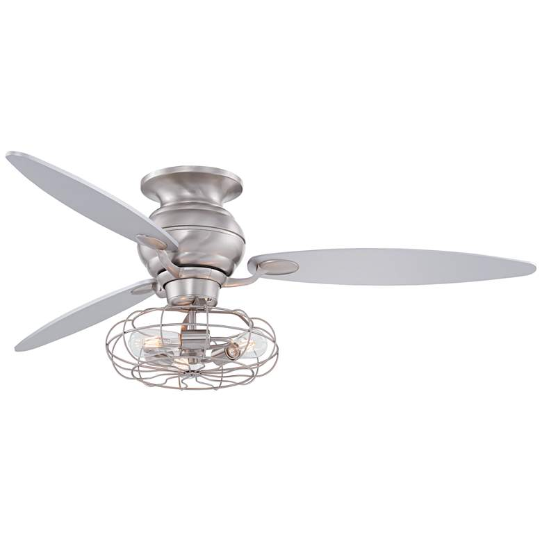 "60"" Spyder Brushed Steel Hugger LED Ceiling Fan"