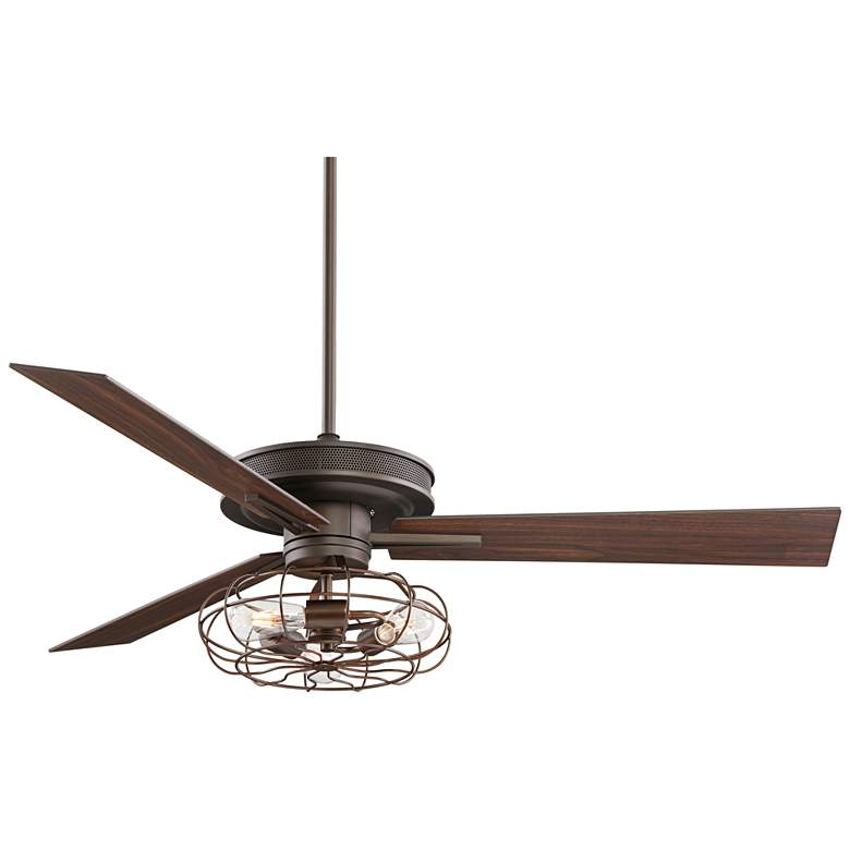 "60"" Taladega Bronze Ceiling Fan with LED Cage Light Kit"