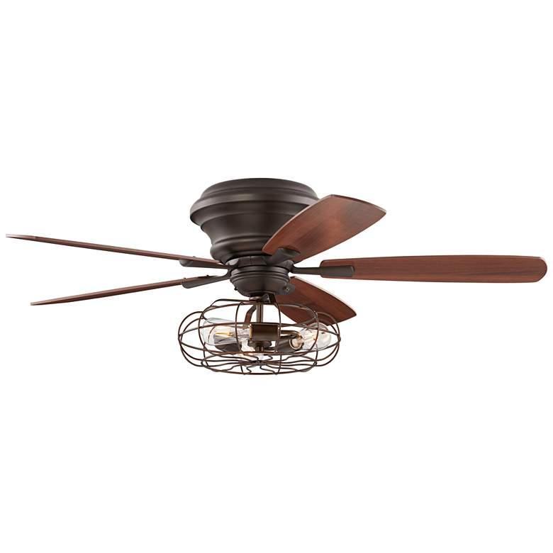 """52"""" Oil-Rubbed Bronze Hugger Ceiling Fan LED Cage Light"""