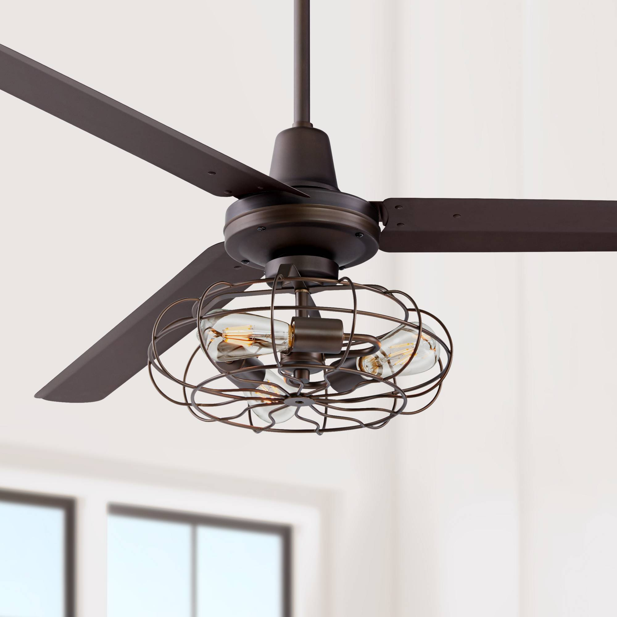 Details About 60 Outdoor Ceiling Fan With Light Led Bronze Damp Rated Patio Porch