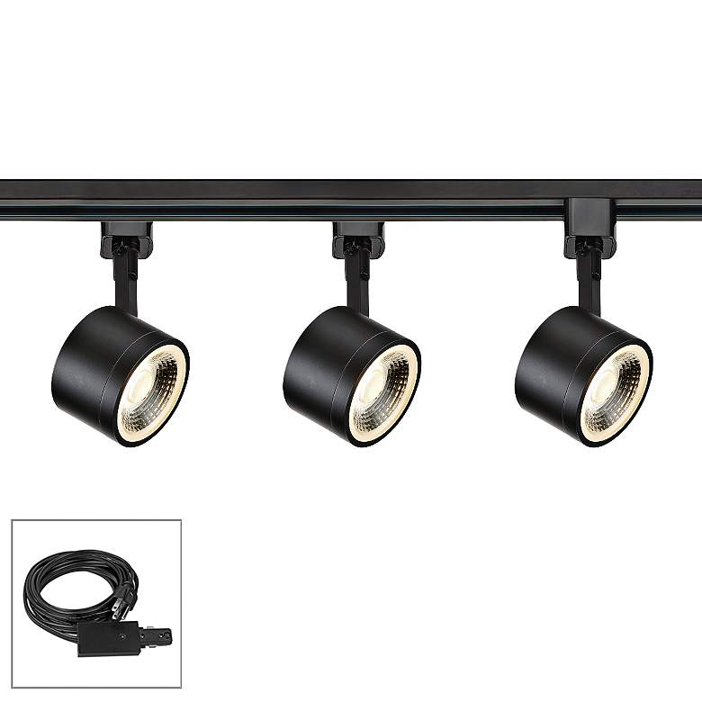 Nuvo Lighting 3 Light Black Round Head Led Plug In Track Kit