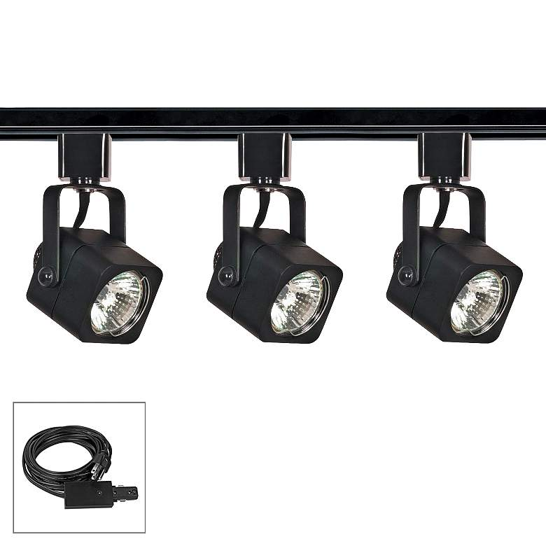 Nuvo Lighting 3-Light Black Square Shade Plug-In Track Kit