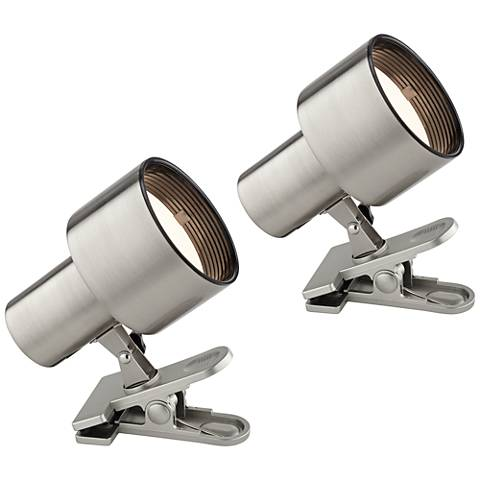 "Pro Track Satin Nickel 6""H Mini Accent Clip Lights Set of 2"