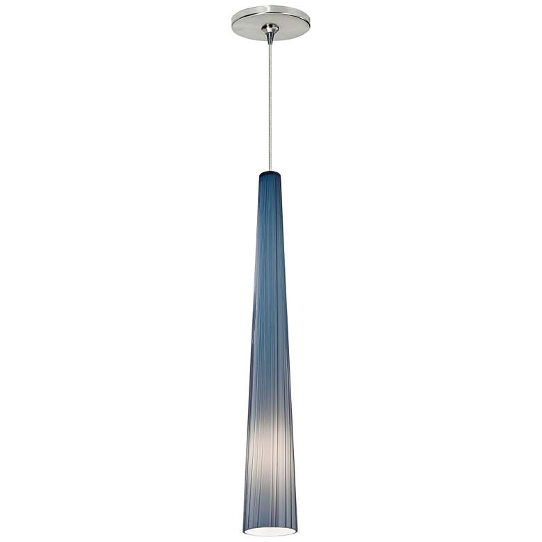"Zenith 4""W Blue and Satin Nickel LED Freejack Mini Pendant"