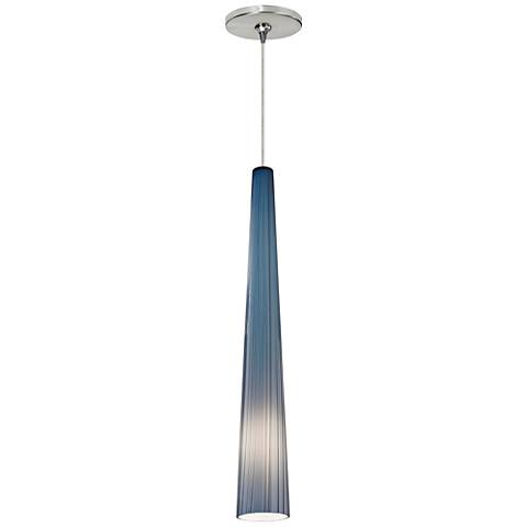 "Zenith 4""W Blue and Satin Nickel LED Freejack Mini Pendant"