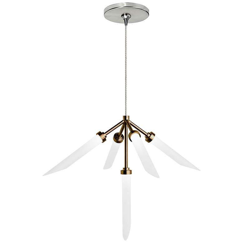 """Spur 20""""W Aged Brass and Nickel LED Freejack Pendant Light"""