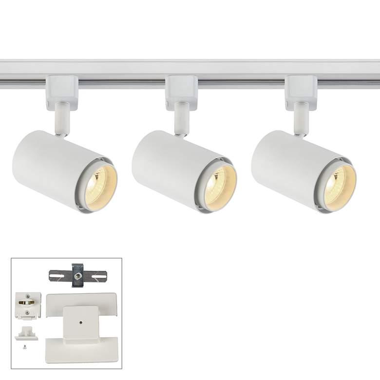 3-Light White Cylinder 10W LED Floating Canopy Track Kit