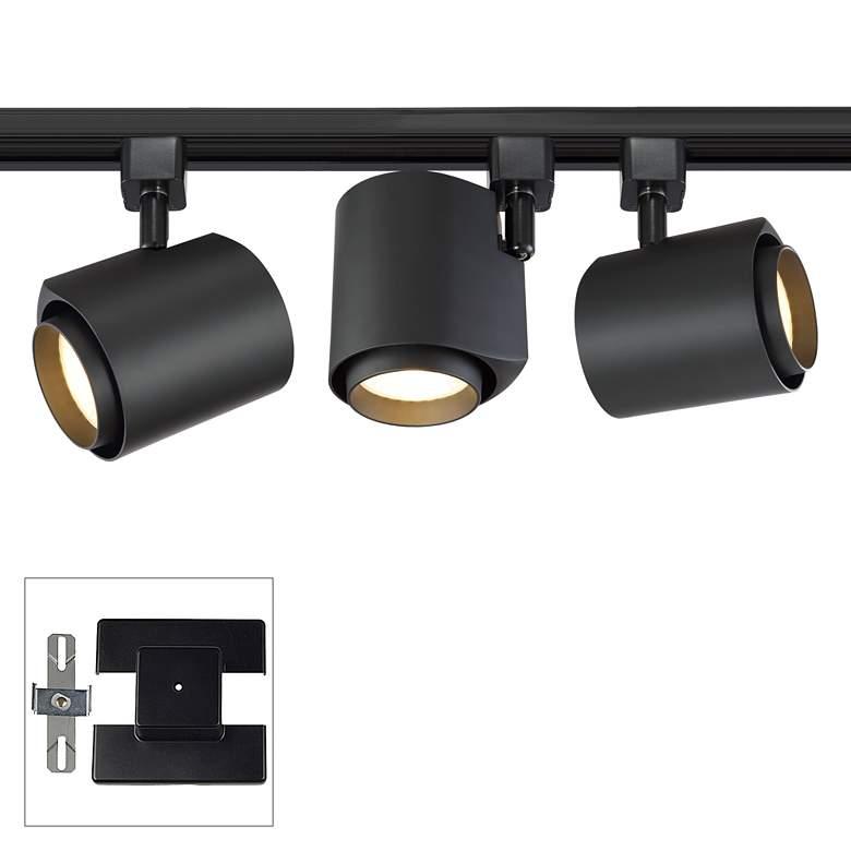 3-Light Black 22 Watt LED Floating Canopy Track Kit