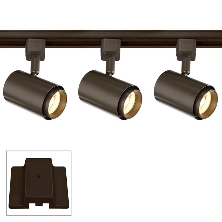 3-Light Bronze Cylinder 10W LED Floating Canopy Track Kit