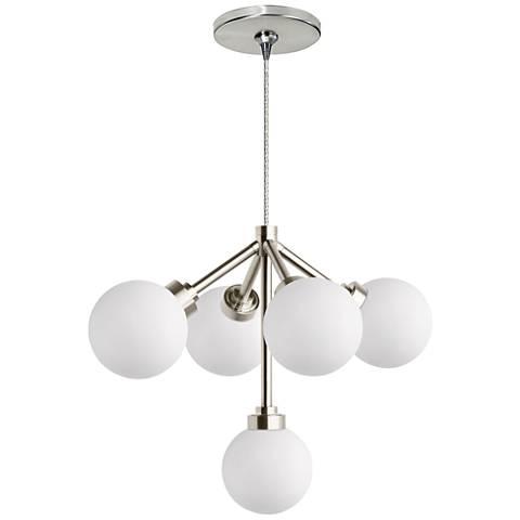 "Mara 12 1/4""W White and Nickel LED Freejack Pendant Light"