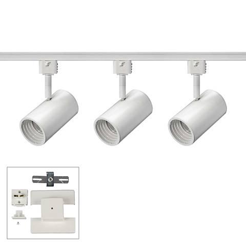 3-Light White Cylinder 10 Watt LED Floating Canopy Track Kit