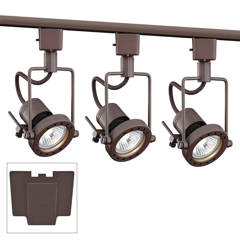 3-Light Bronze European Style Track Kit with Floating