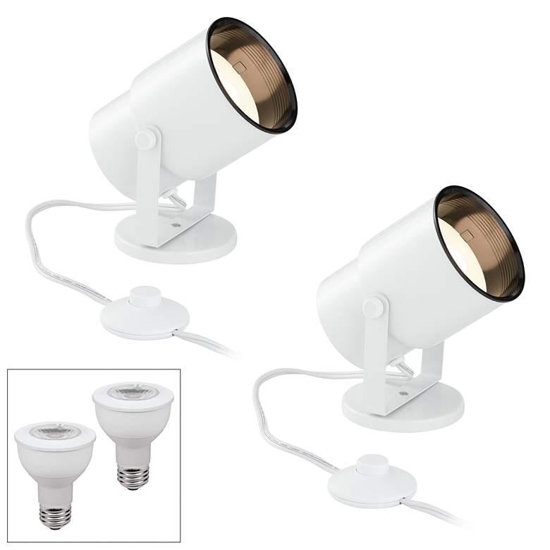 Cord-n-Plug White 3000K LED Accent Uplight Set of 2