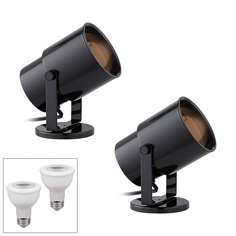 Cord-n-Plug Black 3000K LED Accent Uplight Set of 2