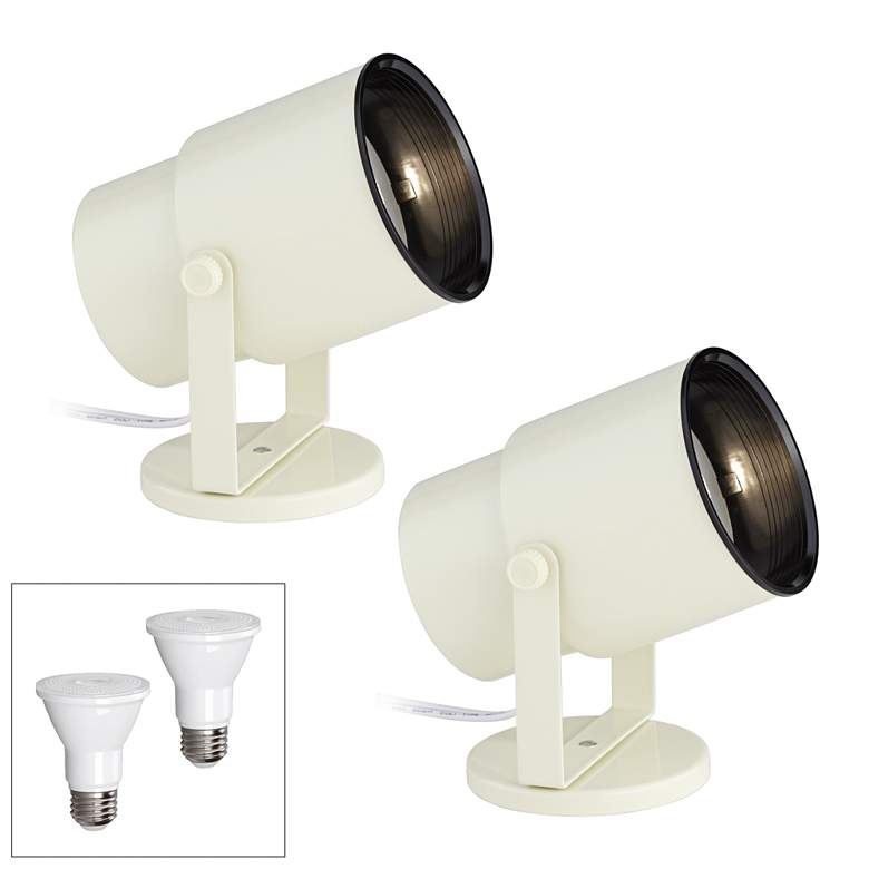 "Almond White 8"" High 3000K LED Accent Uplight Set of 2"