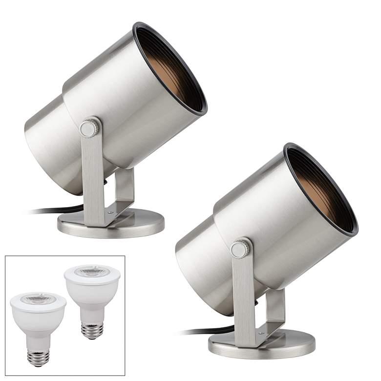 """Cord-n-Plug Brushed Steel 8"""" High 3000K LED Uplight Set of 2"""