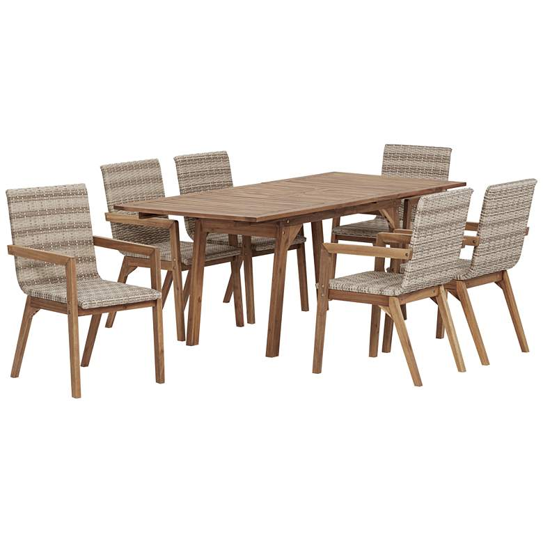 Vancouver Natural Wood and Wicker 7-Piece Outdoor Dining Set