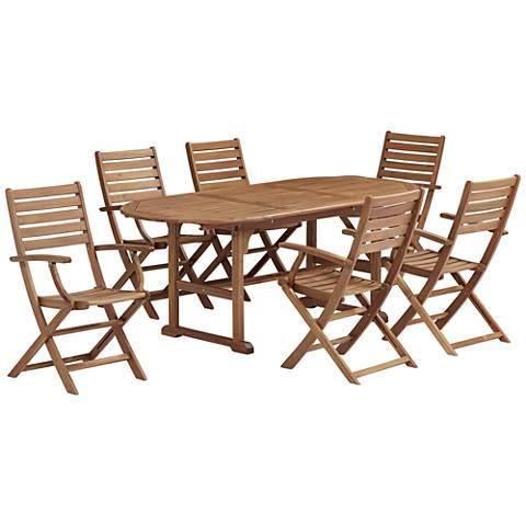 Capri Natural Wood 7-Piece Outdoor Patio Dining Set