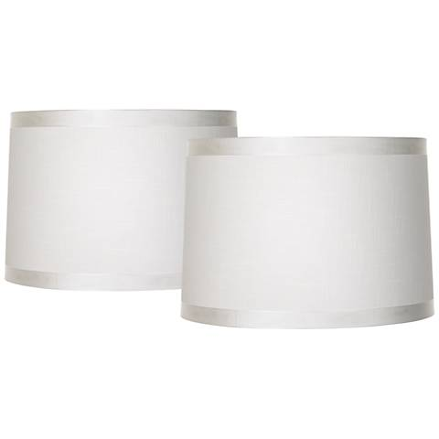 Set of 2 Off White Fabric Drum Shades 15x16x11 (Spider)