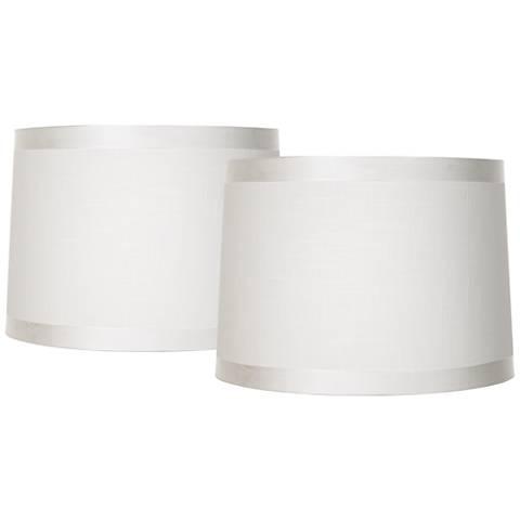 Off-White Fabric Set of 2 Drum Shades 13x14x10 (Spider)