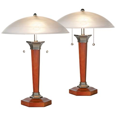 Walnut And Nickel Deco Dome Table Lamps - Set of 2
