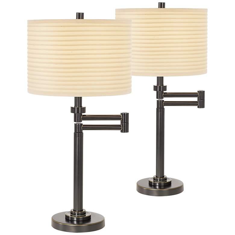 Neat Pleat Bronze Swing Arm Desk Lamps Set