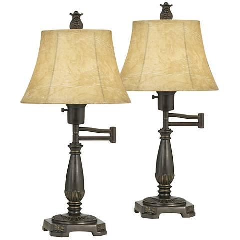 Bronze Finish Swing Arm Lamps by Regency Hill - Set of 2