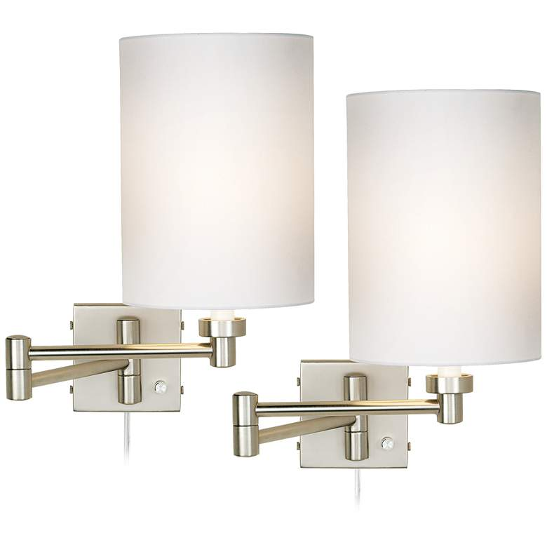 Set of 2 Brushed Nickel Cylinder Swing Arm Wall Lamps