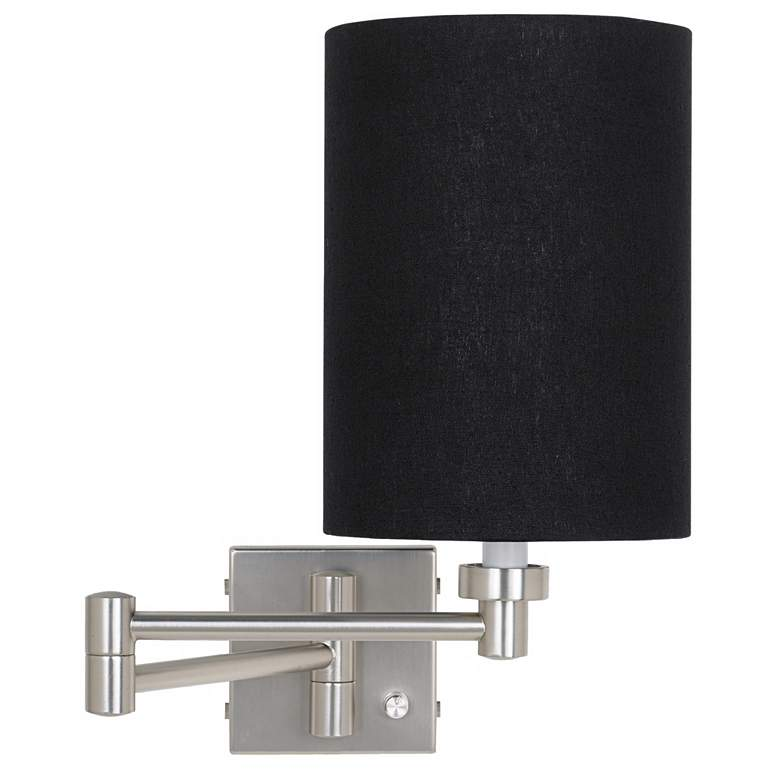 Black Linen Cylinder Brushed Nickel Plug-In Style Swing Arm