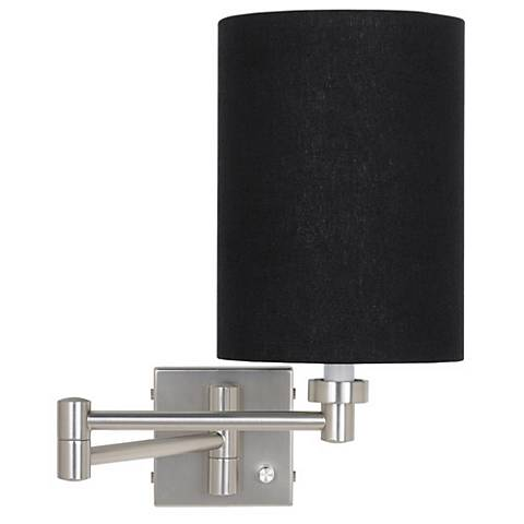 Black Linen Cylinder Brushed Steel Plug-In Style Swing Arm