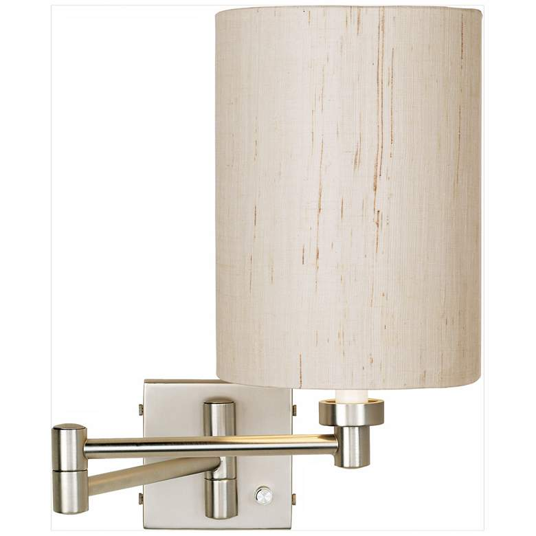 Brushed Nickel Ivory Cylinder Plug-In Swing Arm Wall